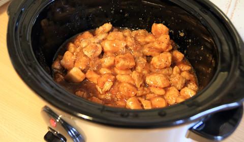 i bocconcini di pollo dopo 4 ore di cottura nella Slow Cooker