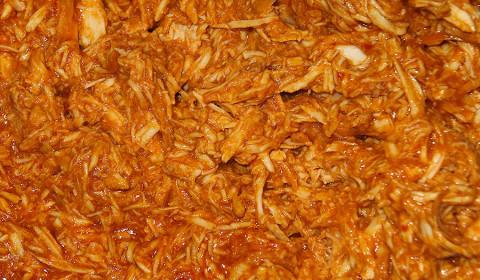 dettaglio del pulled chicken a cottura ultimata