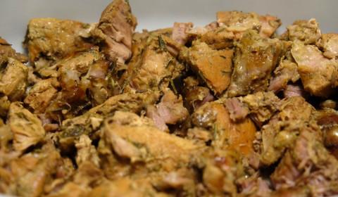 i bocconcini di maiale alle spezie a cottura ultimata