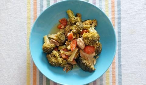 bocconcini di vitello con broccoli e pomodorini