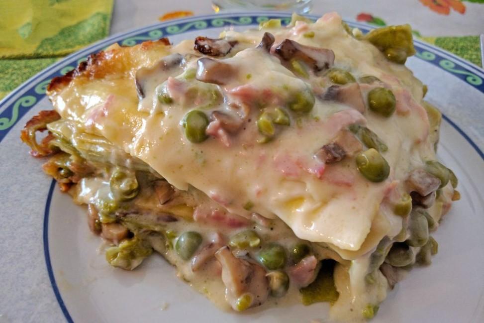 Lasagna con funghi e piselli Slow Cooker