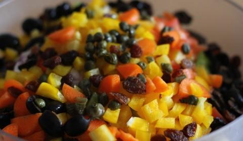 tutte le verdure tagliate a dadini