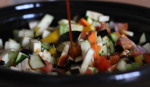 il mix versato sulle verdure