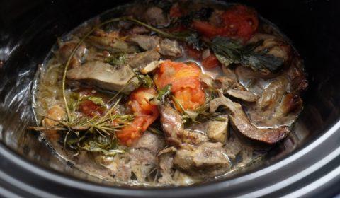 Coratella di agnello a fine cottura nella Slow Cooker