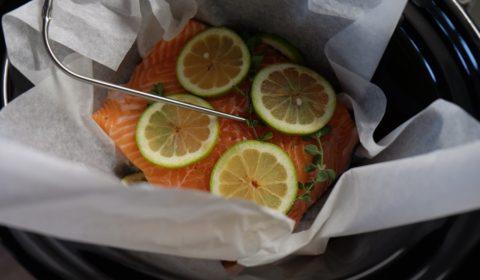 Filetto di salmone al limone in cottura nella Slow Cooker