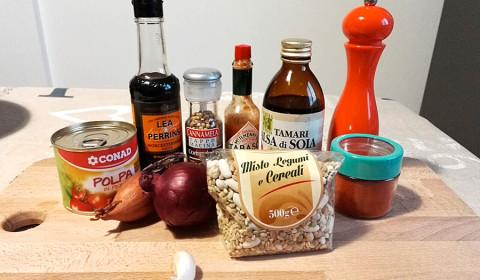 ingredienti per il misto di legumi
