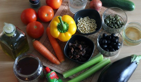 ingredienti per ricetta Caponata Slow Cooker