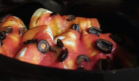 Involtini di melanzana e nasello in cottura nella Slow Cooker