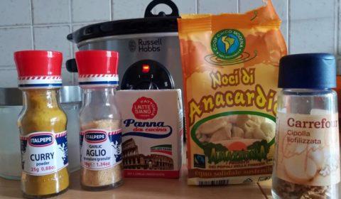 Ingredienti per la salsa di anacardi
